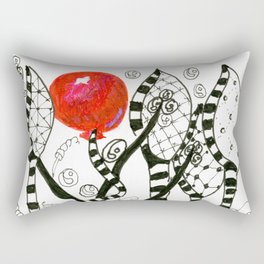 Pop of Color, Red Balloon Zendoodle in Fanciful Forest Rectangular Pillow