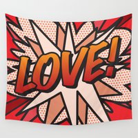 comic book Wall Tapestries featuring Comic Book LOVE! by The Image Zone