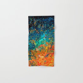 ETERNAL TIDE 2 Rainbow Ombre Ocean Waves Abstract Acrylic Painting Summer Colorful Beach Blue Orange Hand & Bath Towel