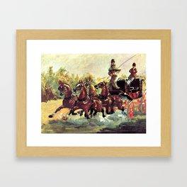 """Henri de Toulouse-Lautrec """"Count Alphonse de Toulouse Lautrec driving a four horse hitch"""" Framed Art Print"""