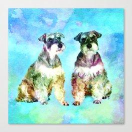 Miniature Schnauzer dogs Watercolor Digital Art Canvas Print