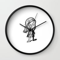 lydia martin Wall Clocks featuring Lydia Martin Team Human by aredblush