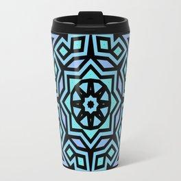 Aqua/Lilac/Black Tribal Pattern Travel Mug