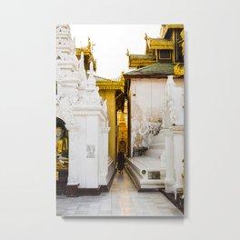 Monk in temple Myanmar   Schwedagonpagode Yangon   photoprint - gold - travel - photography - art print Metal Print