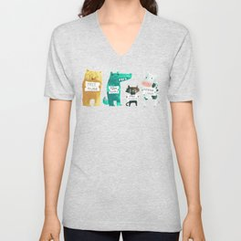 Animal idioms - its a free world Unisex V-Neck