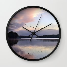 Uplifting: Geese Rise at Dawn on Lake George Wall Clock