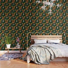 Fruit and Floral Pattern Wallpaper