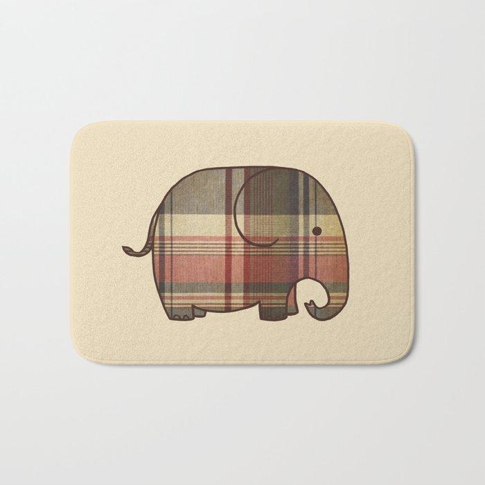 Plaid Elephant  Bath Mat
