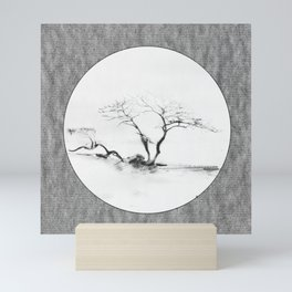 Scots Pine Paper Bag Grey Mini Art Print
