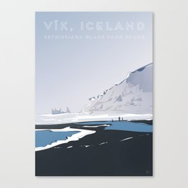 Vik Reynisfjara Black Sand Beach, Iceland Travel Poster Canvas Print