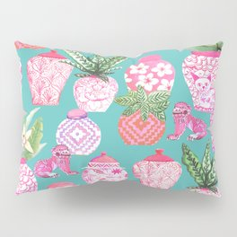 Pink Chinese ginger jars on teal with calathea plants and palms Pillow Sham