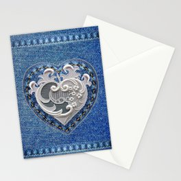 Flowers On Hearts Stationery Cards