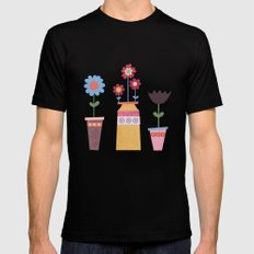 Floral Pots Black Mens Fitted Tee MEDIUM
