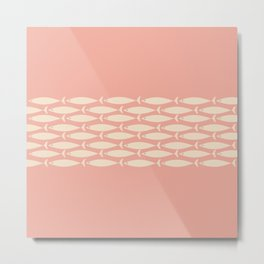 Mid Century Modern Fish Stripe Minimalist Pattern in Cream, Mint, and Soft Retro Blush Pink Metal Print