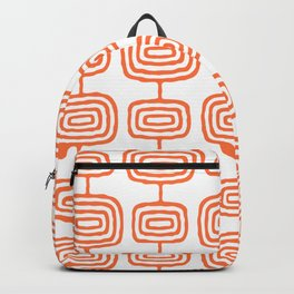 Mid Century Modern Atomic Rings Pattern Orange 3 Backpack