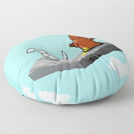 Dog in the sky peeing - Illustration Floor Pillow