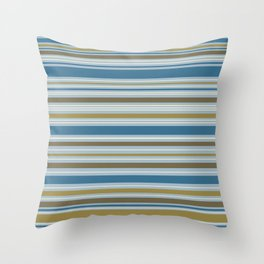 Stripey Design Gold Cream Brown Blues Throw Pillow