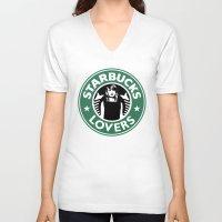 starbucks V-neck T-shirts featuring Starbucks Lovers by Renata Bernardes