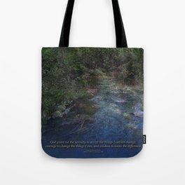 Serenity Prayer Blue Creek Tote Bag