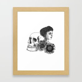 The Girl With A Skull And Flowers Framed Art Print