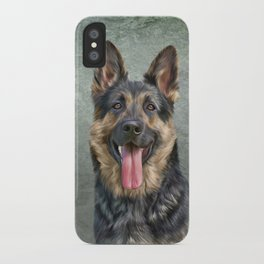 German Shepherd dog. Drawing, illustration funny dog iPhone Case