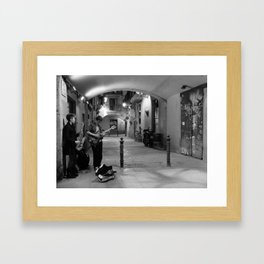 Musicians on the streets of Born Framed Art Print