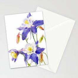 Blue Columbine on White Stationery Cards