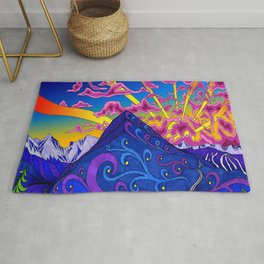 psychedelic colorful lines nature mountain trees snowy peak moon sun rays hill road artwork star sky Rug