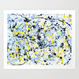Abstract in Blue, Yellow and Black Art Print