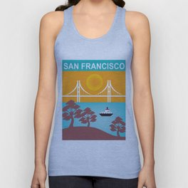 San Francisco, California - Skyline Illustration by Loose Petals Unisex Tank Top