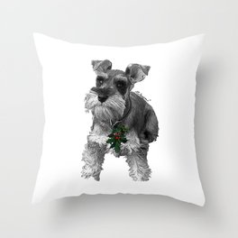 Christmas Schnauzer Throw Pillow