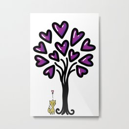 Cat in love sitting under the tree, sketchy doodles Metal Print