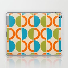 Mid Century Modern Half Circle Pattern 549 Beige Orange Cyan and Olive Laptop & iPad Skin