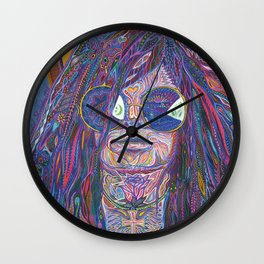 Psychedelic Sun Goddess Portrait Wall Clock