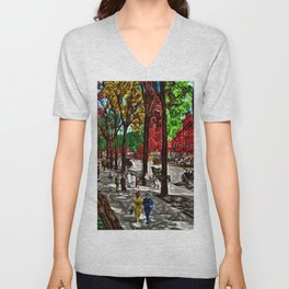 'Saturday on Broadway with George' Landscape by Jeanpaul Ferro Unisex V-Neck