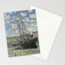 Claude Monet - Boats Lying at Low Tide at Facamp Stationery Cards