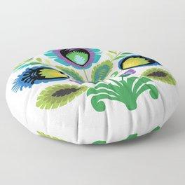 Polish Folk Art Print Teal Floor Pillow