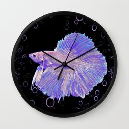 Iridescent Purple Fighting Fish Wall Clock