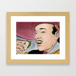 Pedro y Los Tacos de Pescado Framed Art Print
