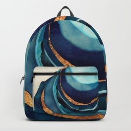 Abstract Blue with Gold Backpack