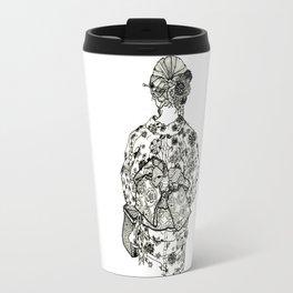 Geometric Black and White Drawing Japanese Yukata Kimono Travel Mug
