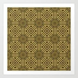 Golden Rattan Wicker Squares Art Print