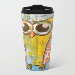 Owl In Blue Travel Mug