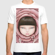 head of girl in rose petal with key in his hand White Mens Fitted Tee MEDIUM