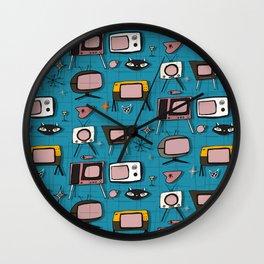 Retro Tv Teal #midcentury Wall Clock