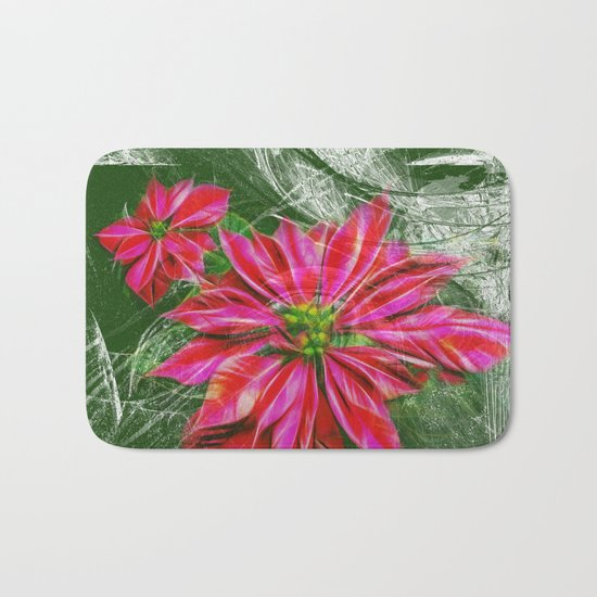 Abstract vibrant red poinsettia on green texture Bath Mat