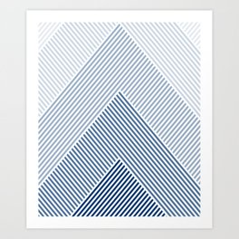 Shades of Blue Abstract geometric pattern Art Print