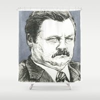 swanson Shower Curtains featuring Ron Swanson by Molly Morren