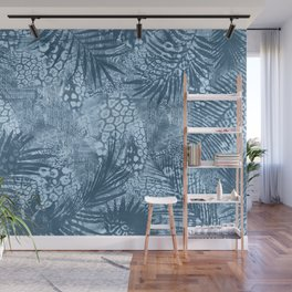Blue Tropical Palm Leaf Pattern Wall Mural