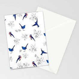 Mountain bluebird,white background,floral pattern Stationery Cards
